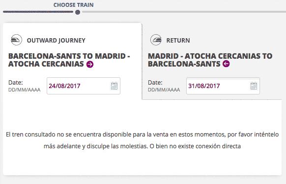 El tren consultado no se encuentra disponible para la venta en estos momentos, por favor inténtelo más adelante y disculpe las molestias. O bien no existe conexión directa